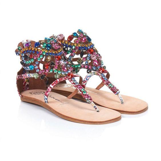 Zehsandale von JEFFREY CAMPBELL - Bunt  Aufwendiger Ethnostil in besonders farbenfrohem Design! Die filigrane Sandale mit schmalen Riemche...