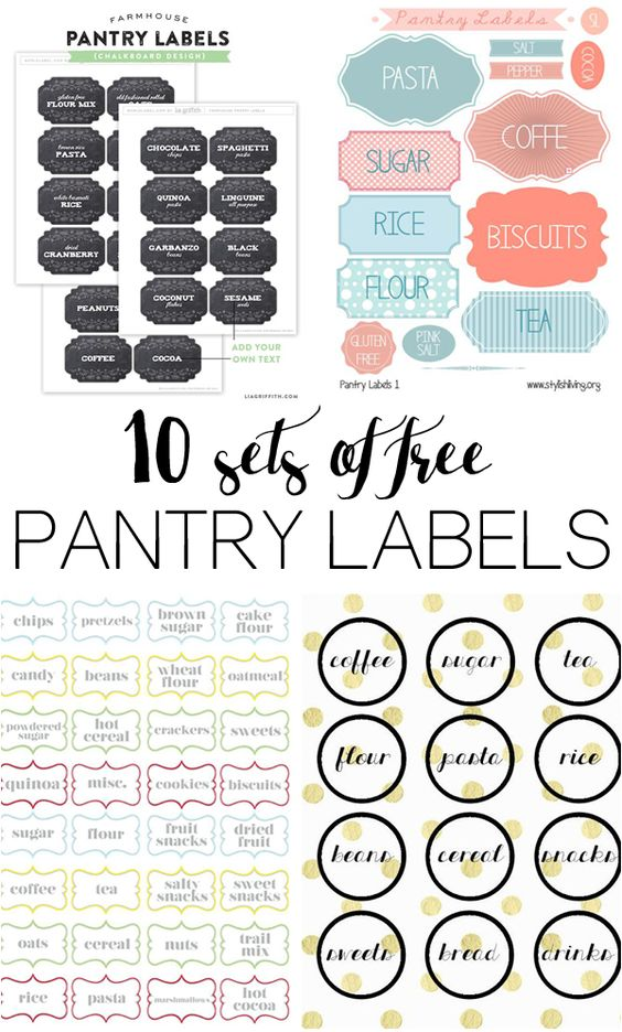 10 different sets of free pantry labels: