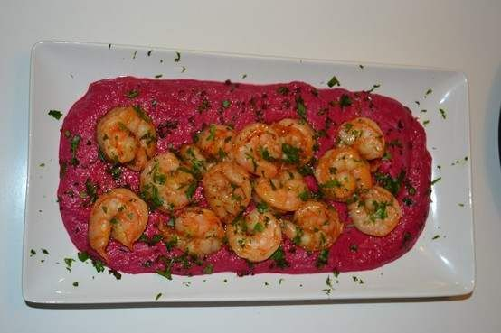 OVEN-ROASTED SHRIMP WITH A PUREE OF BEETS, YOGHURT AND OLIVE OIL.