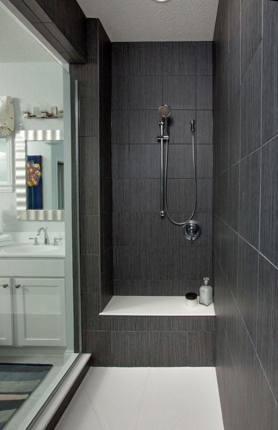 75 Bathroom Ideas Black Tiles Gray Shower Tile Black Tile Bathrooms Tile Walk In Shower