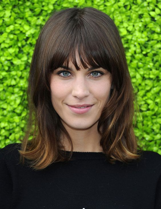 Balayage and bangs on Alexa Chung