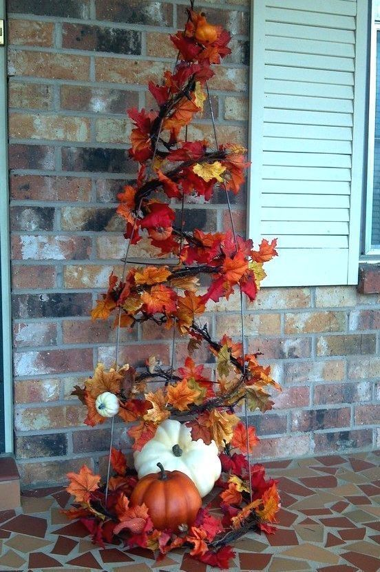 Tomato Cage Fall Tree nature autumn leaves fall diy steps fall crafts fall decorating autumn pics fall pics fall porch