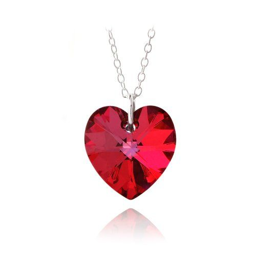 $9.99 Sterling Silver Ruby Red Swarovski Elements Heart Necklace  From SilverSpeck   Get it here: http://astore.amazon.com/ffiilliipp-20/detail/B009T9IPN2/191-7732035-6692654