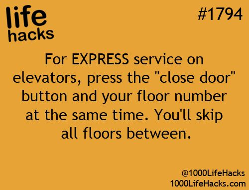 Express elevator trips : push close door and floor simultaneously. Like the blog? Get the book:  http://amzn.to/1HXXBfk
