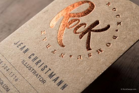 Rustic Trendy Brown Kraft Business Card With Foil Stamping Rock Printing Business Cards Foil Printed Business Cards Kraft Business Cards
