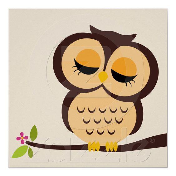 Cartoon Owl Children's Wall Art Posters from Zazzle.com