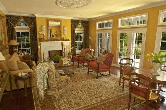 Traditional Living Room Design Ideas with Traditional Patterned Chairs and Persian Rugs