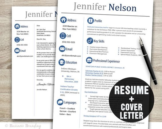 Teacher Resume Template Word / Cover Letter Template / Instant Download / Creative Resume Design / CV Template