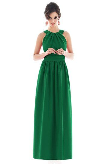 Alfred Sung D495 Bridesmaid Dress | Weddington Way We love the Pine Green and the girls will pick their own tops. Definitely long dresses though.