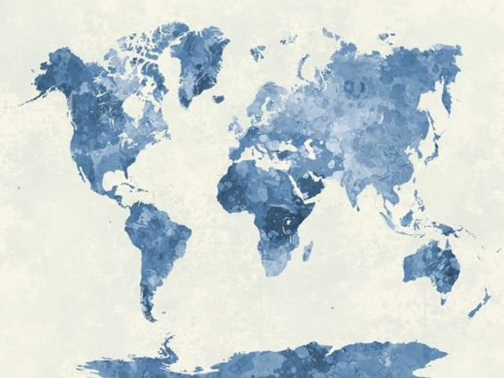 World map in watercolor blue travel architecture houses for Pinterest weltkarte