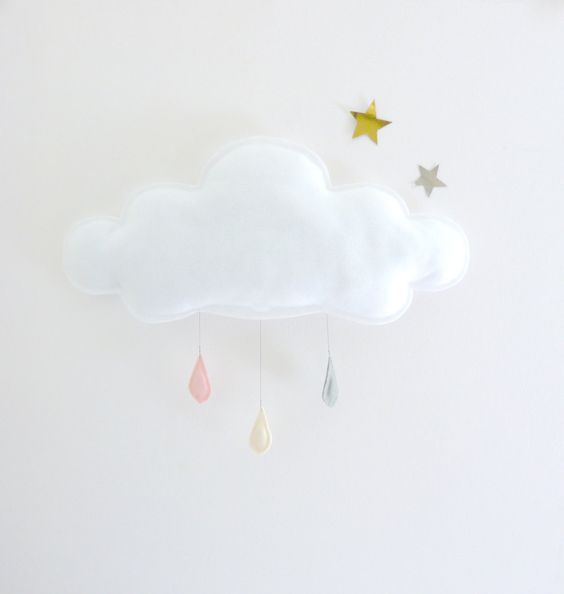 THE Big white Rain cloud with felt raindrops by The Butter Flying