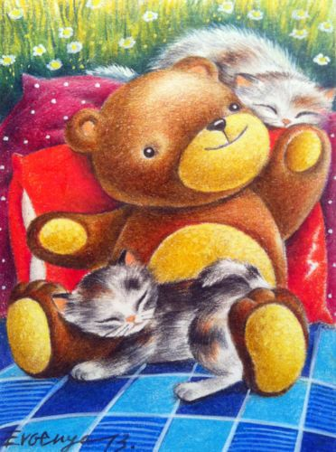 ACEO Original Drawing Cat Kitten by Evgenya   eBay