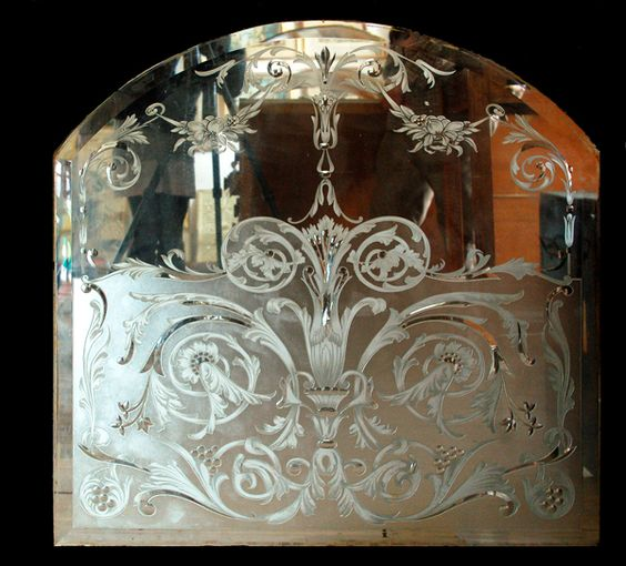 Antique Bar Panels Of Stained Glass Etched Mirror Panels And Finely