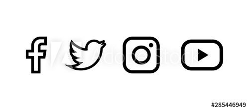 Set Of Facebook Twitter Instagram And Youtube Icons Social Media Icons Black Colored Set Li In 2020 Watercolor Ombre Background Social Media Icons Twitter Instagram