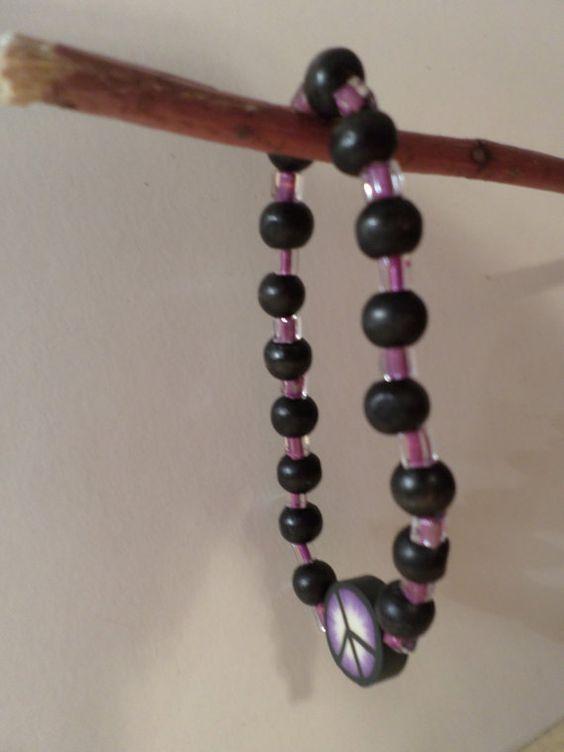 Peace bracelet-Peace symbol-Purple white by JeriAielloartstore