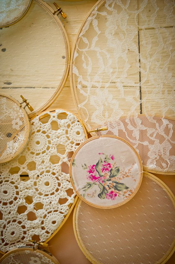 Hanging embroidery hoops lace pinterest vintage