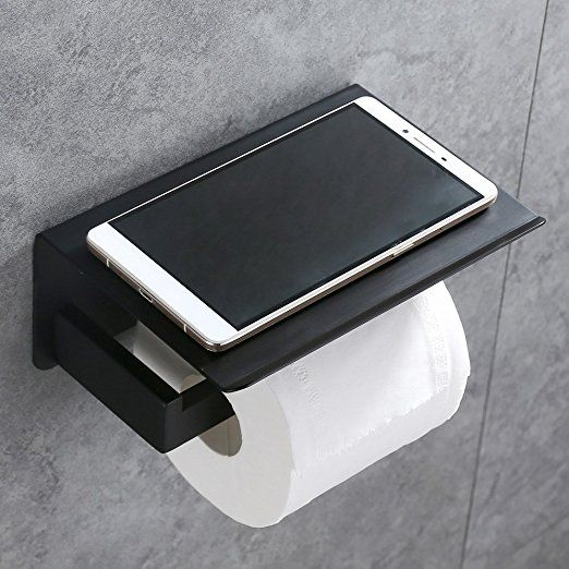 Toilet Paper Holder Apl Sus304 Stainless Steel Bathroom Paper Tissue Holder With Mobile Phon Black Toilet Paper Holder Black Toilet Paper Black Bathroom Decor