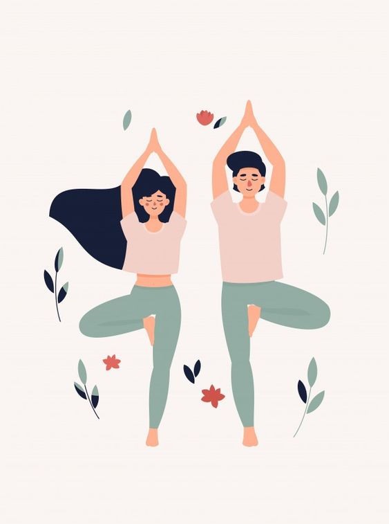 Illustration of woman and man doing yoga... | Premium Vector #Freepik #vector #tree #leaf #yoga #couple