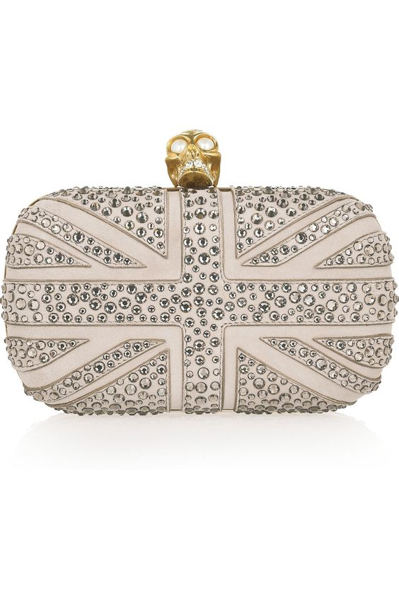 OH YES!!!!! ALEXANDER MCQUEEN  Britannia Skull crystal-studded suede box clutch