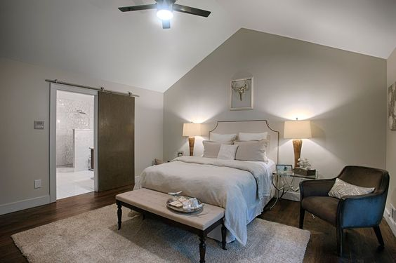 Transitional Master Bedroom with Carpet, Ceiling fan, Caressoft Guest Chair, High ceiling, Shag Silver Area Rug by Safavieh
