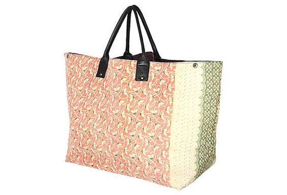 Kantha Tote, Taj- handmade in India from vintage reclaimed cotton-each piece is one of a kind.
