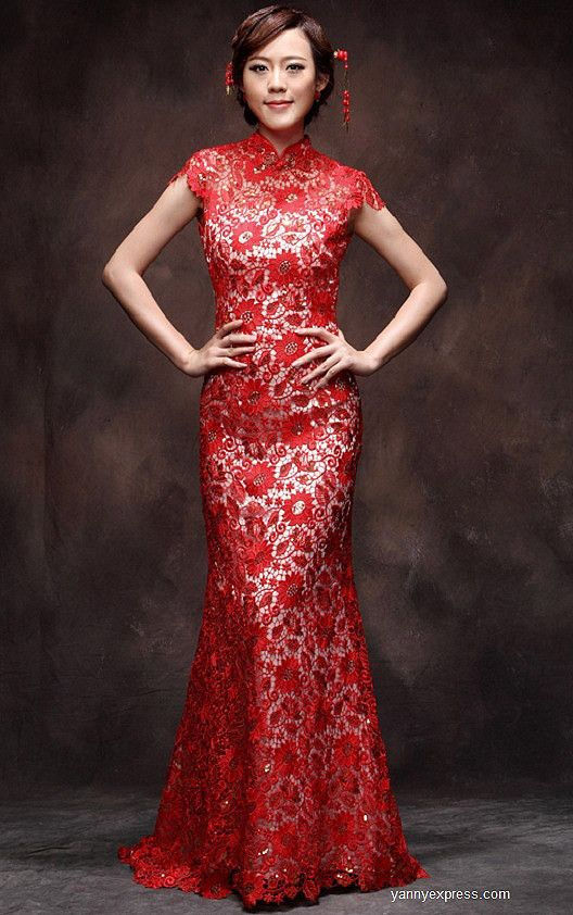 Chinese wedding dress red lace gown bridal reception for Red dresses for a wedding
