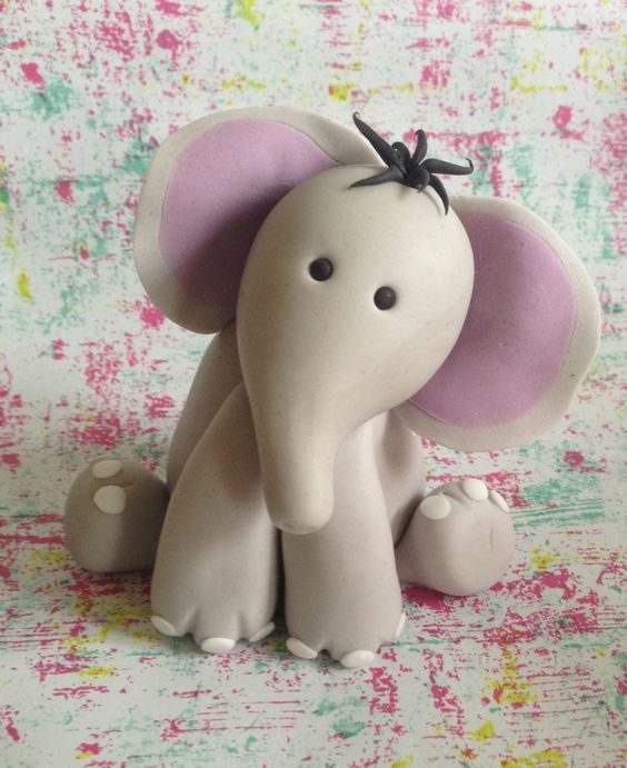3D Figures - Gum paste baby elephant cake topper