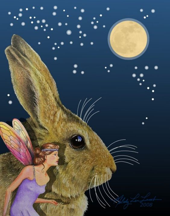 Fantasy Fairy Bunny Note carte d'illustrations originales de mélodie Lea agneau
