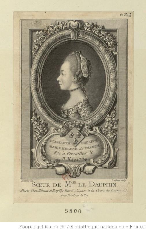 Portrait de Madame Élisabeth, en buste, de profil à gauche, dans une bordure ovale enguirlandée de fleurs à sa partie supérieure et reposant sur un cartouche aux armes, cantonné de lys ; le tout dans un encadrement rectangulaire.