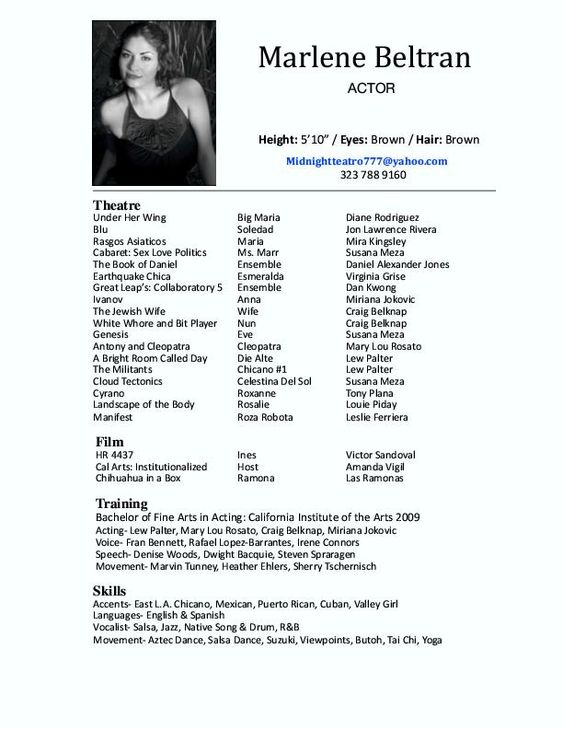 Good Actor Resumes Acting Pinterest Acting Resume Template, High   8x10 Resume  Paper  8x10 Resume Paper