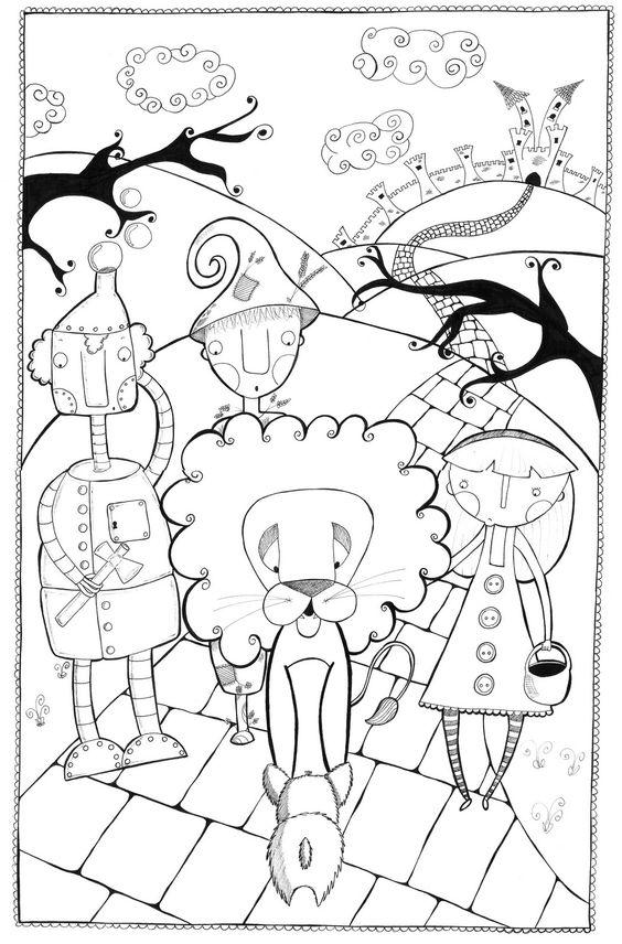 Dibujo para colorear de el mago de oz mundo m gico de oz for Cascanueces jardin infantil