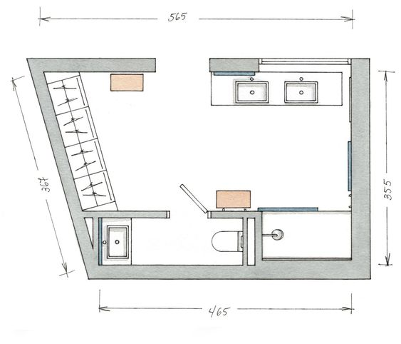 Un ba o integrado en el dormitorio for Plano de pieza cocina y bano