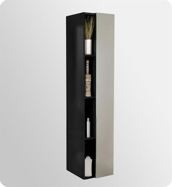 Fresca Black bathroom linen cabinet will complement your modern bathroom.