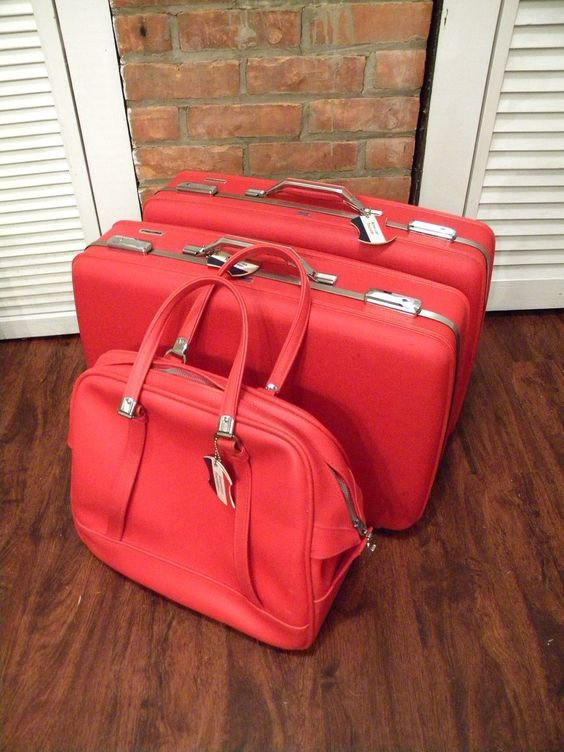 1960's Red American Tourister Luggage 3 Piece Set With Keys