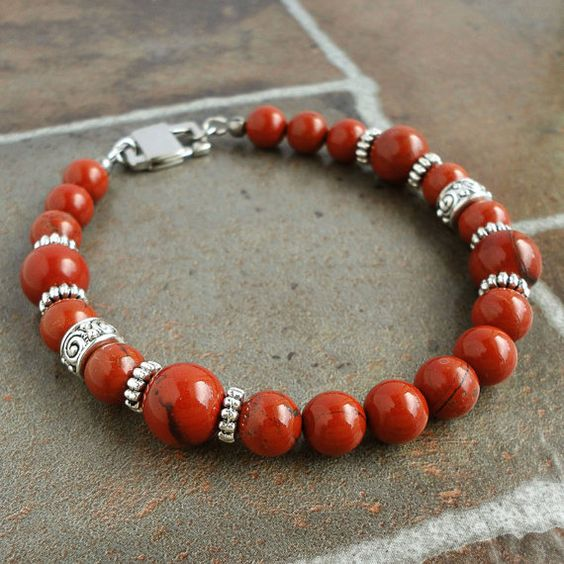 Mens Red Jasper Bracelet Natural Stone Beaded by mamisgemstudio, $26.95