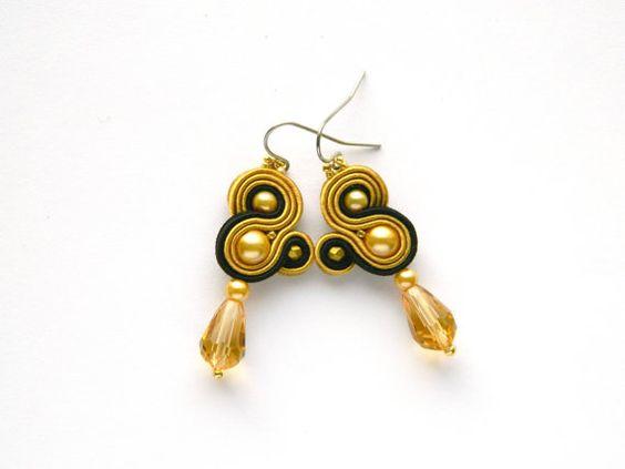 Golden earrings black earrings golden crystals drop by anatydesign