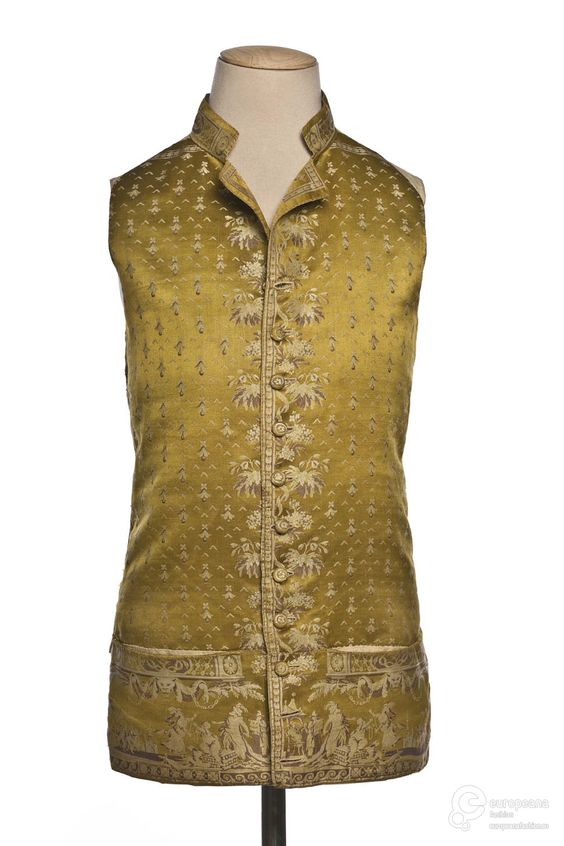 Waistcoat, 1787. Green silk satin embroidered with floral motifs and figurative scenes in beige tones.