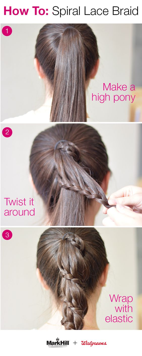 Holiday hair takes a new twist with an easy approach to this professional style. Create a spiral lace braid yourself: 1) Make high ponytail. 2) Pull a section from the top, braid it, and secure it with a small, clear elastic at its end. 3) Wrap the braid around your ponytail, adding a few bobby-pins to keep hair in place. 4) Wrap ends of the braid and ponytail together with another small, clear elastic. Perfect for both work and festivities!