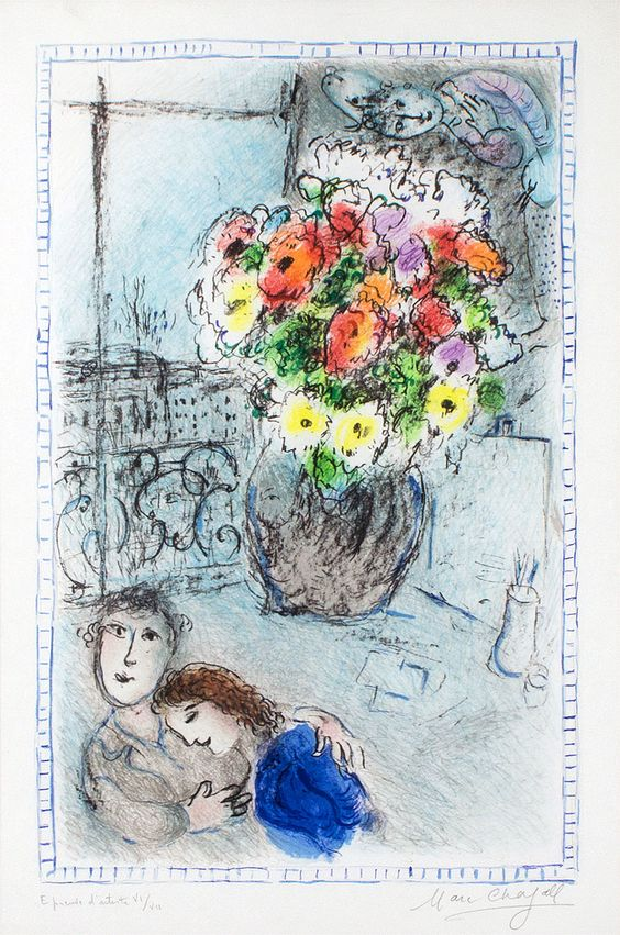 Chagall Hand Signed Color Lithograph | The Buttercups, 1973