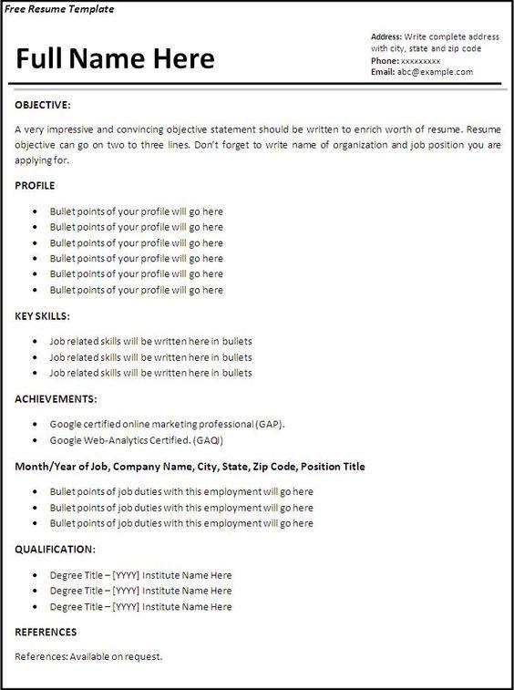 Free Resume Builder Resume - http\/\/wwwjobresumewebsite\/free - resume bulider
