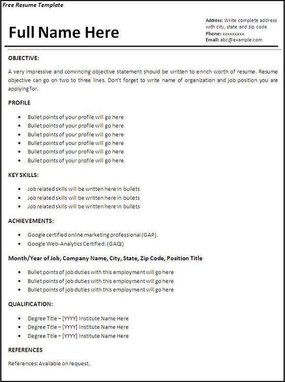 resume templates resume template free word