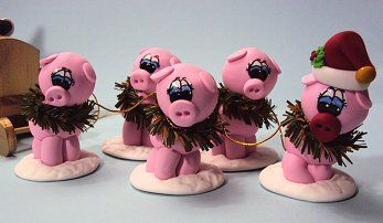 Pig Sleigh made from polymer clay