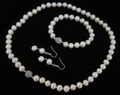 White Freshwater Pearl Jewelry Set, 8mm. - free shipping
