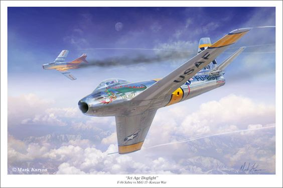 """Jet Age Dogfight"" by Mark Karvon F-86 Sabre vs MiG 15 Korean War www.markkarvon.com"