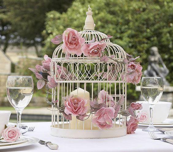 Wedding Centrepiece Large Birdcage With Flowers - Beautiful decorative vintage inspired large birdcage