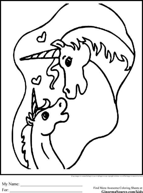 Unicorn Coloring Pages Mommy Baby Randomness Kids