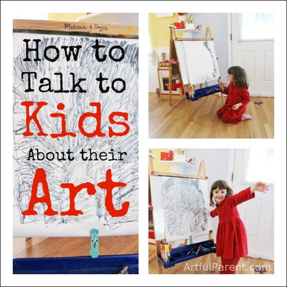 "Do you find yourself saying an automatic ""that's pretty"" or asking ""what is that?"" when your child shows you her artwork? Here are some ideas for talking to kids about their art constructively (including some dos and don'ts)"