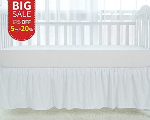 Amazon Com Tillyou White Crib Skirt Dust Ruffle 100 Natural Cotton Nursery Crib Toddler Bedding Skirt For Baby Bo White Crib Skirt White Crib Nursery Crib