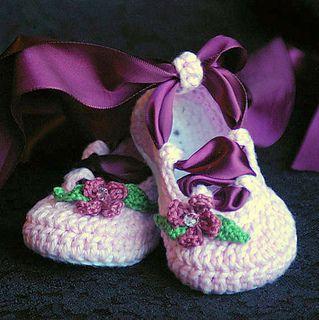 Baby Ballerina Crochet Booties Pattern by Lorin Jean