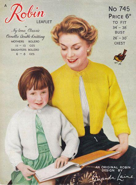 ninage glirsl and ladies bolero knitting pattern 1950s
